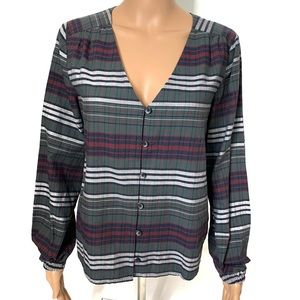Madewell V-neck Balloon Sleeved Flannel Top